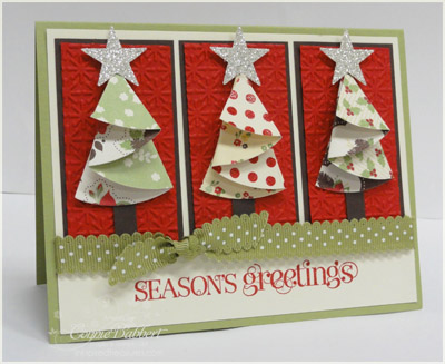 for this cardi used 3 circles of holly berry designer paper to make the trees and folded them according to the template i layered them onto the three - Folded Christmas Cards