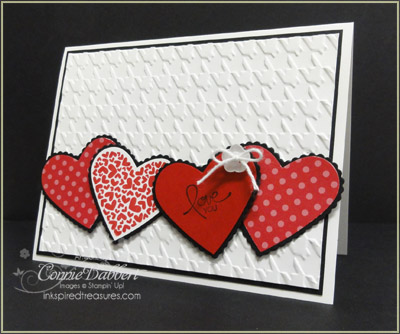 i decided to use the real red patterns designer paper because stampin up currently has a special package called love patterns of 12 sheets of real red and